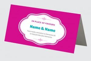 Dementia UK wedding place card