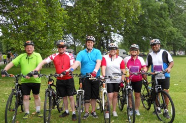 A group of cyclists for Dementia UK
