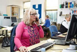 A specialist Admiral Nurse working on our dementia helpline