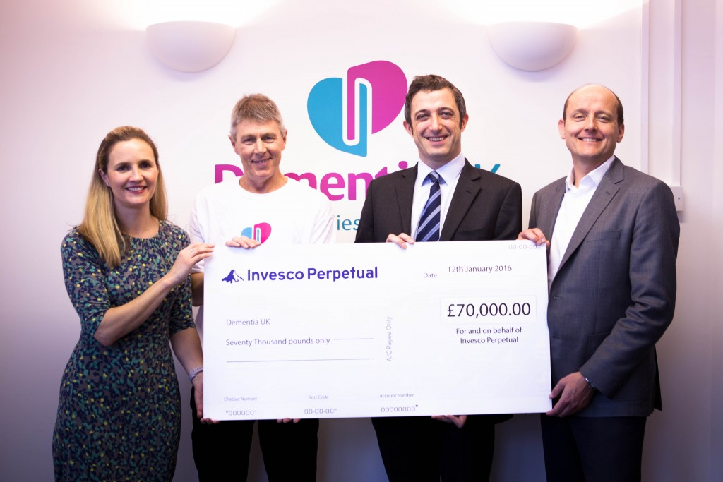 Invesco present a cheque for £70k to Dementia UK