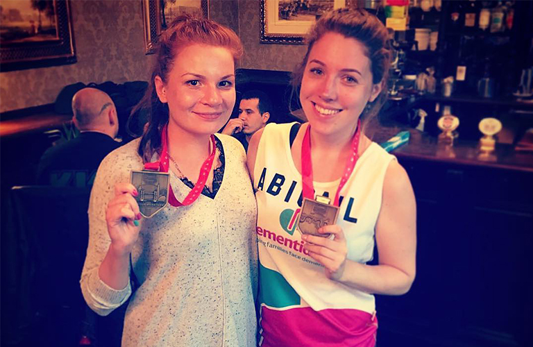 fundraisers holding medals