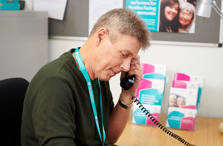 Dementia UK worker on the phone