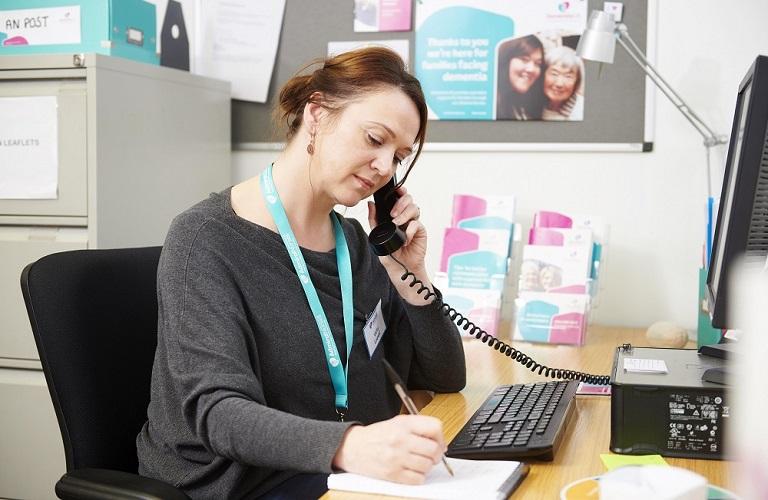 Dementia Helpline Admiral Nurse taking a phone call
