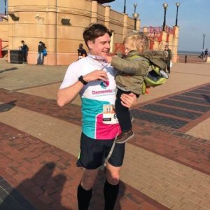 Tom Williams after finishing the Cardiff Half Marathon