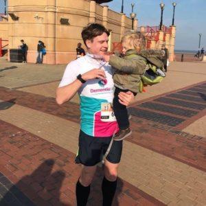 Tom Williams after finishing the Cardiff Half Marathon