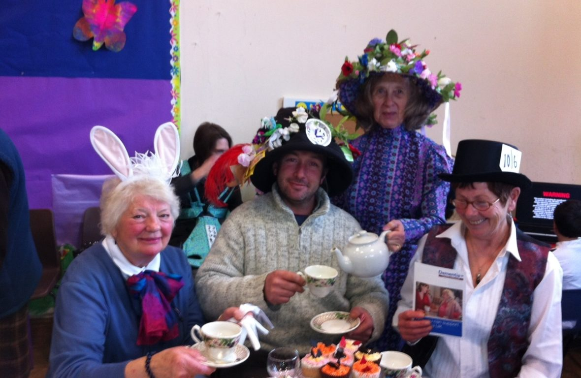 Michele Poole and Helen Fowler at the Mad Hatter tea party