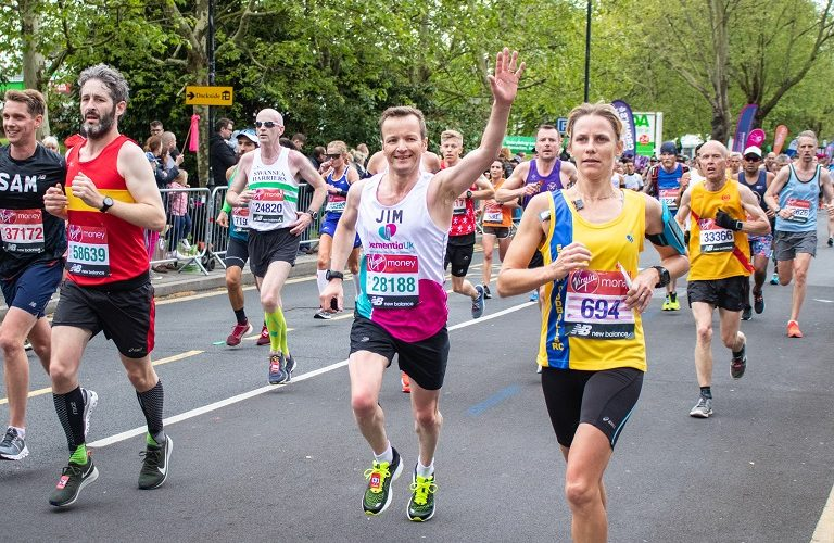 Supporter running the London marathon