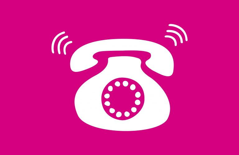 Cartoon phone on pink background