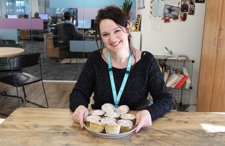 Admiral Nurse Vicky with her cupcakes